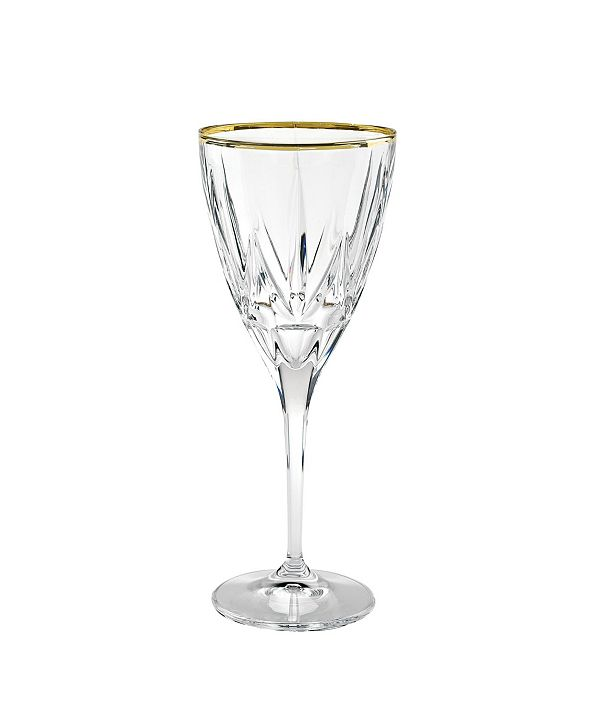 Lorren Home Trends Chic White Wine with 24K Trim Goblets - Set  of 6