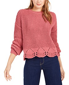 Pointelle Hem Chenille Sweater