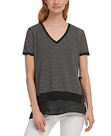 Striped Step-Hem Top