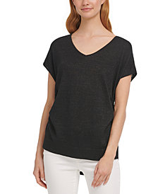 DKNY Ruched Metallic Sweater