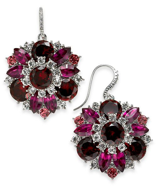 Charter Club Silver-Tone Red & Pink Crystal Drop Earrings, Created For Macy's
