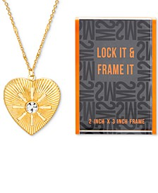 "Gold-Tone Pavé Heart Locket Pendant Necklace & Photo Frame Gift Set, 24"" + 3"" extender"