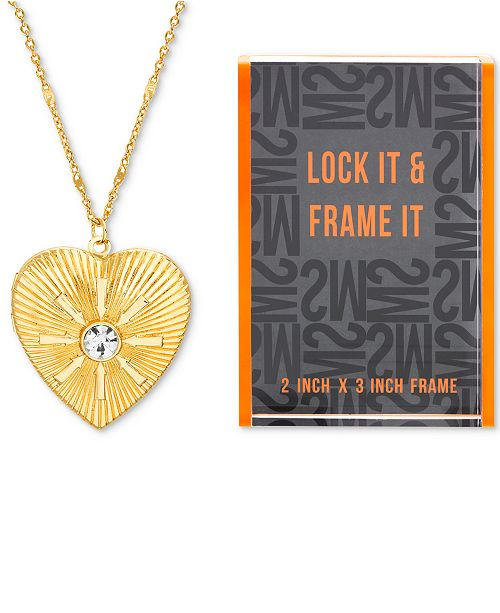 "Steve Madden Gold-Tone Pavé Heart Locket Pendant Necklace & Photo Frame Gift Set, 24"" + 3"" extender"