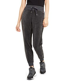Faux-Leather & Velour Jogger Pants