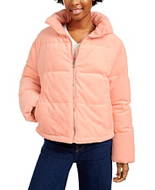 Juniors' Cropped Corduroy Puffer Coat