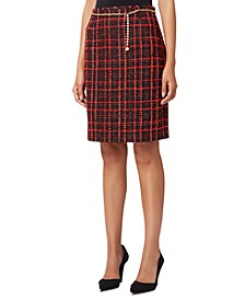 Plaid Bouclé Pencil Skirt With Chain Belt