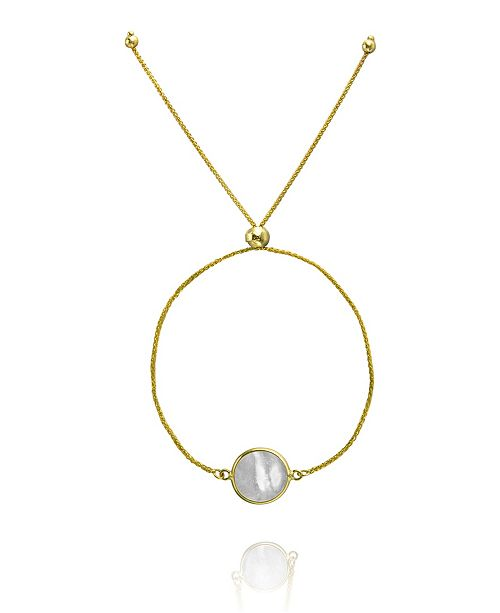 Macy's Mother of Pearl Bolo Bracelet in 10K Yellow Gold