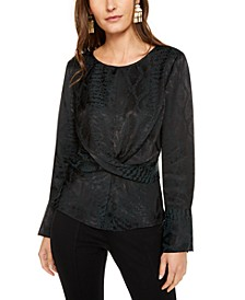 INC Snake-Print Twist-Front Top, Created For Macy's