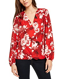 INC Petite Floral-Print Surplice Top, Created For Macy's