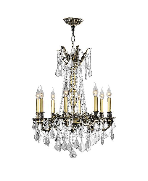 Worldwide Lighting Windsor 8-Light Antique Bronze Finish and Clear Crystal Chandelier