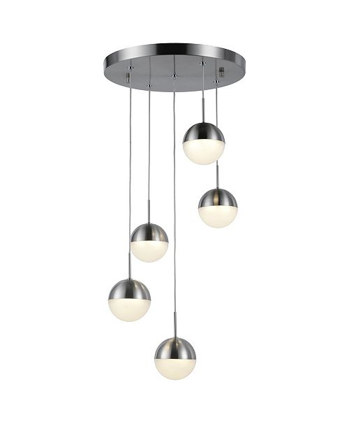 Worldwide Lighting Phantasm 12.5-Watt Matte Nickel Finish Integrated LED Iced Opal Acrylic Pendant Ceiling Light