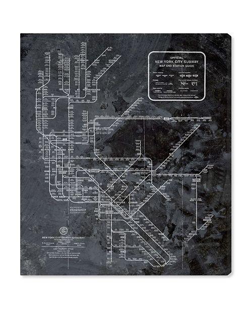 "Oliver Gal Ny Subway Map Dark Rustic Canvas Art, 24"" x 28"""