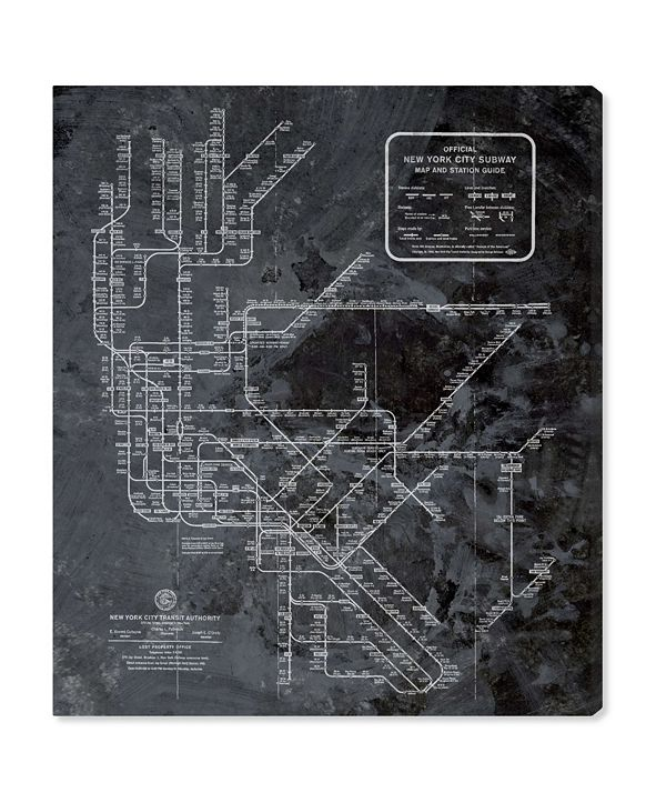 "Oliver Gal Ny Subway Map Dark Rustic Canvas Art, 24"" x 28"""