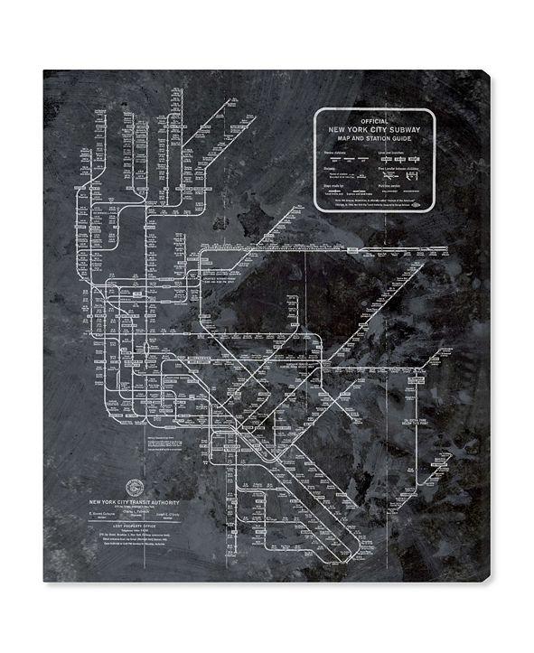 "Oliver Gal Ny Subway Map Dark Rustic Canvas Art, 30"" x 36"""