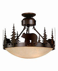 Bozeman Amber Glass Rustic Bear Semi-Flush Mount Light or Pendant