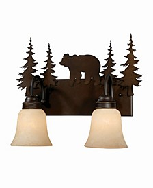 Bozeman 2 Light Rustic Bear Vanity Light