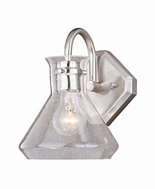 Curie Satin Nickel Clear Seeded Glass Jar Wall Sconce Light