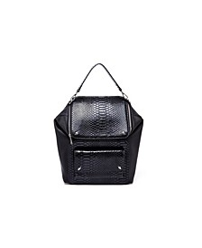 Boxy Snakeskin Studded Backpack