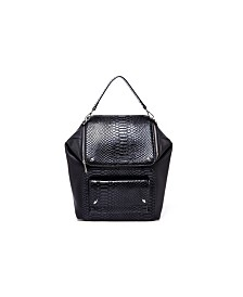 Like Dreams Boxy Snakeskin Studded Backpack