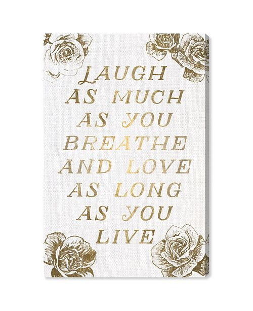 "Oliver Gal Laugh and Live Roses Canvas Art, 24"" x 36"""