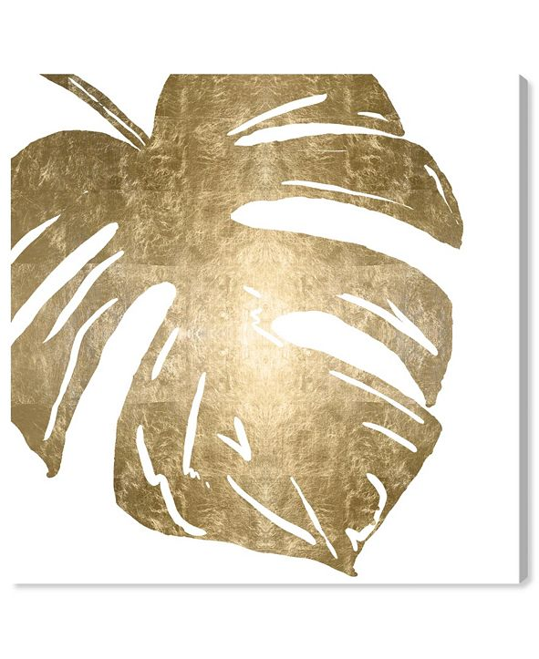 """Oliver Gal Tropical Leaves Square II Gold Metallic Canvas Art, 16"""" x 16"""""""