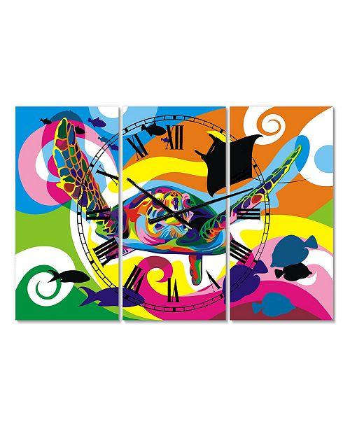 "Designart Underwater Oversized Modern 3 Panels Wall Clock - 38"" x 38"" x 1"""
