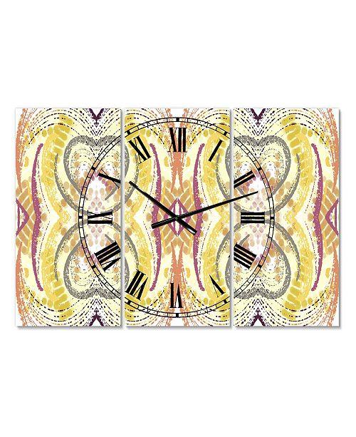 "Designart Yellow and Purple Heart Pattern Oversized Mid-Century 3 Panels Wall Clock - 38"" x 38"" x 1"""