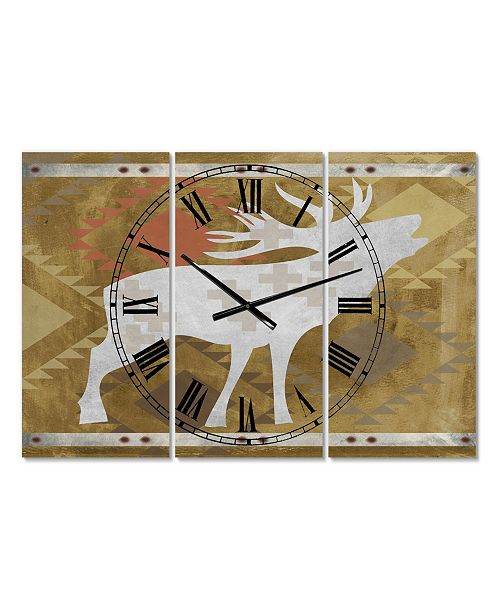 """Designart Patterned Howling White Moose Oversized Traditional 3 Panels Wall Clock - 38"""" x 38"""" x 1"""""""