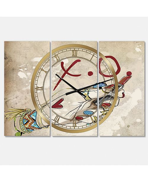 "Designart Gypsy Hippy Hand Lipstick Xo Large Cottage 3 Panels Wall Clock - 23"" x 23"" x 1"""