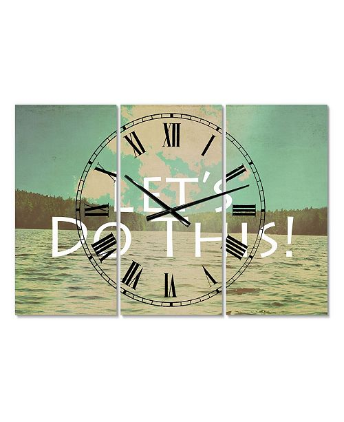 "Designart Lets Do This Large Cottage 3 Panels Wall Clock - 23"" x 23"" x 1"""