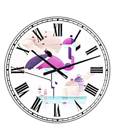 "Placido Flamingo Large Mid-Century Wall Clock - 36"" x 28"" x 1"""