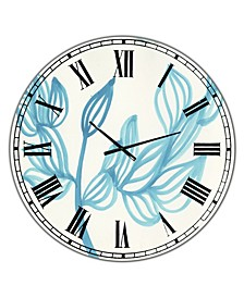 """Blooming Blue Large Mid-Century Wall Clock - 36"""" x 28"""" x 1"""""""