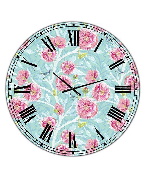 "Designart Evening Garden Pattern I Large Cottage Wall Clock - 36"" x 28"" x 1"""