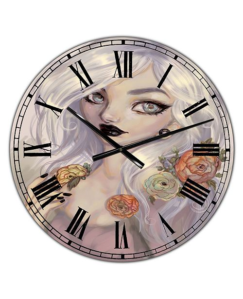 "Designart Fantasy Girl with White Hair and Orange Flowers Oversized Cottage Wall Clock - 36"" x 28"" x 1"""