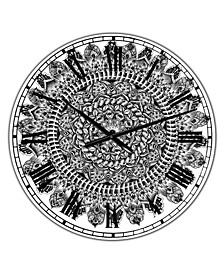 "Mandala Drawing Large Traditional Wall Clock - 38"" x 38"" x 1"""