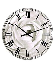 "Designart White Rannunculus Close Up Large Cottage Wall Clock - 38"" x 38"" x 1"""