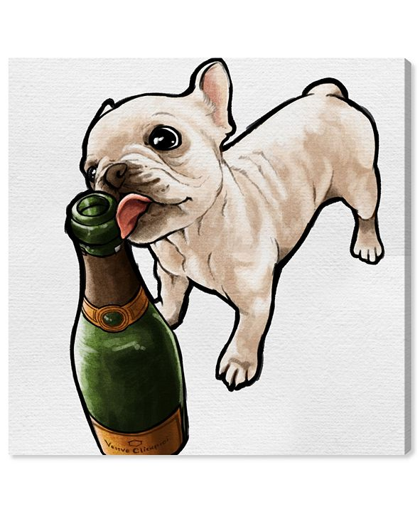 "Oliver Gal Frenchie and Bubbly Canvas Art, 16"" x 16"""