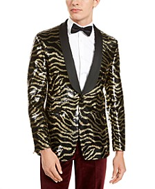 Men's Slim-Fit Black Zebra Sequin Dinner Jacket