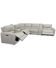 Danvors 7-Pc. Leather Sectional Sofa with 3 Power Recliners, Power Headrests, 2 Consoles, and USB Power Outlet
