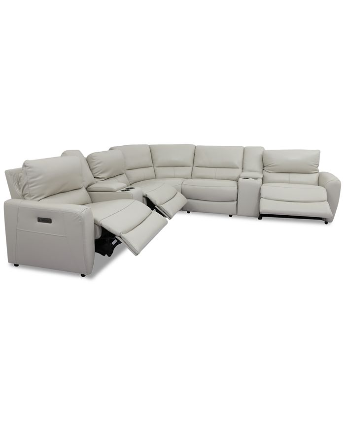7 Pc Leather Sectional Sofa With, Sectional Sofa Recliner