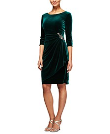 Petite Side-Ruched Velvet Dress