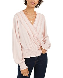 Juniors' Lace-Trim Smocked Surplice Top, Created For Macy's