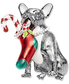 Silver-Tone Pavé & Imitation Pearl Stocking Dog Pin