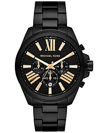 Men's Chronograph Wren Black Ion-Plated Stainless Steel Bracelet Watch 44mm