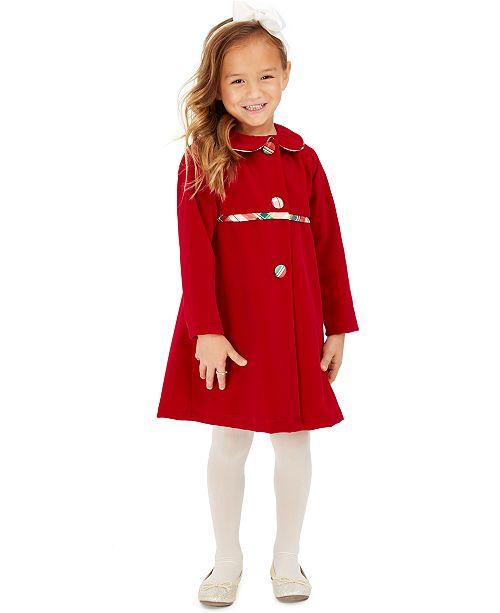 Blueberi Boulevard Little Girls 2-Pc. Plaid Dress & Velvet Jacket Set