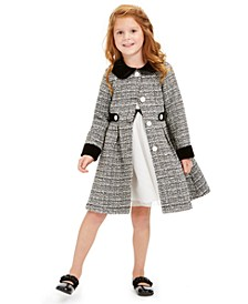 Little Girls 2-Pc. Classic Ribbon Dress & Tweed Jacket Set