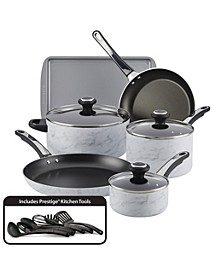 Designs Aluminum Nonstick 15-Pc. White Marble Cookware Set
