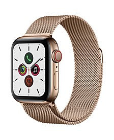 GPS + Cellular, 40mm Gold Stainless Steel Case with Gold Milanese Loop