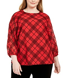 Plus Size Plaid Sheer-Sleeve Top
