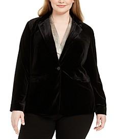 Plus Size Velvet One-Button Blazer